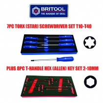 TORX / STAR SCREWDRIVER SET + T-HANDLE HEX / ALLEN KEY SET FROM BRITOOL HALLMARK
