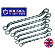 BRITOOL ENGLAND METRIC SWAN NECK RING SPANNER / WRENCH SET