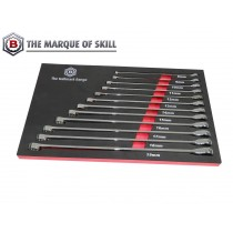 12PC EXTRA LONG DOUBLE RING SPANNER SET WITH RATCHET RING FROM BRITOOL HALLMARK