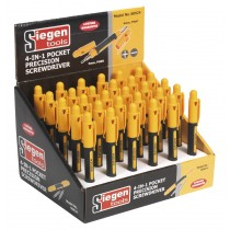 SIEGEN S0924 PRECISION SCREWDRIVER POCKET 4-IN-1 DISPLAY BOX OF 30