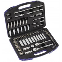 "METRIC 1/4"" & 3/8"" DRIVE 70 PEICE SOCKET SET FROM BRITOOL HALLMARK SMSET70"
