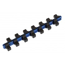 SEALEY SR1214S SOCKET RETAINING RAIL WITH 14 CLIPS ALUMINIUM 1-2 INCH SQ DRIVE STUBBY