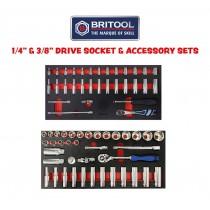 "1/4"" & 3/8"" DRIVE SOCKET, RATCHET & ACCESSORY SETS FROM BRITOOL HALLMARK"