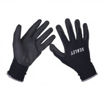 SEALEY NITRILE FOAM PALM GLOVES - LARGE PAIR