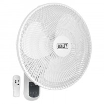 """SEALEY WALL FAN 3-SPEED 16"""" WITH REMOTE CONTROL 230V"""