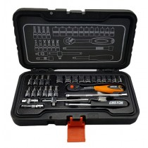 "27PC 1/4"" SOCKET, RATCHET AND ACCESSORY SET FROM CUSTOR TOOLS"