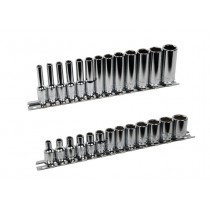 "1/4"" STANDARD & DEEP SOCKET SETS 4-14MM TRADEMARQUE TOOLS"