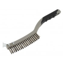 WIRE BRUSH WITH STAINLESS STEEL FILL & SCRAPER FROM SEALEY WB105 SYSP
