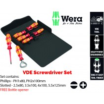 WERA TOOLS VDE INSULATED ELECTRICIANS SCREWDRIVER SET (PH PHILLIPS, SL SLOTTED) + BOTTLE OPENER