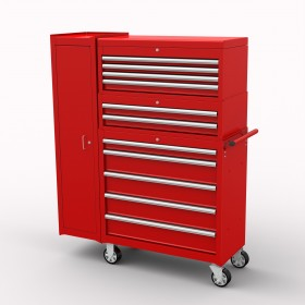 BRITOOL HALLMARK 11 DRAWER TOOL STACK WITH FULL LENGTH SIDE CUPBOARD