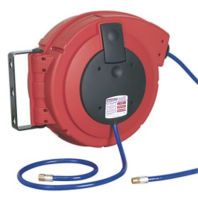 RETRACTABLE AIR HOSE REEL HD MECHANISM 10MTR DIA.10MM ID PU HOSE FROM SEALEY SA895 SYD