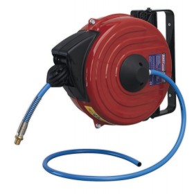 RETRACTABLE AIR HOSE REEL 12MTR DIA.8MM ID TPU HOSE FROM SEALEY SA90 SYD