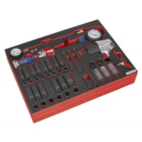 TOOL TRAY WITH IMPACT WRENCH, SOCKETS & TYRE TOOL SET 42PC FROM SEALEY TBTP08 SYD