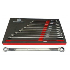 12PC EXTRA LONG DOUBLE RING SPANNER SET WITH RATCHET RING FROM BRITOOL HALLMARK RRXLSET12